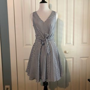 Lulu's Blue and White Striped Fit & Flare Dress